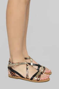 Are We There Yet Flat Sandals - Black/Leopard Angle 1