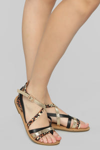 Are We There Yet Flat Sandals - Black/Leopard Angle 2