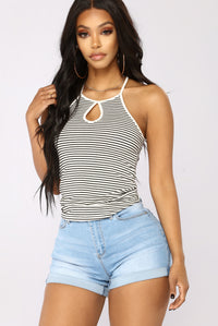 Key To My Heart Stripe Top - White/Black