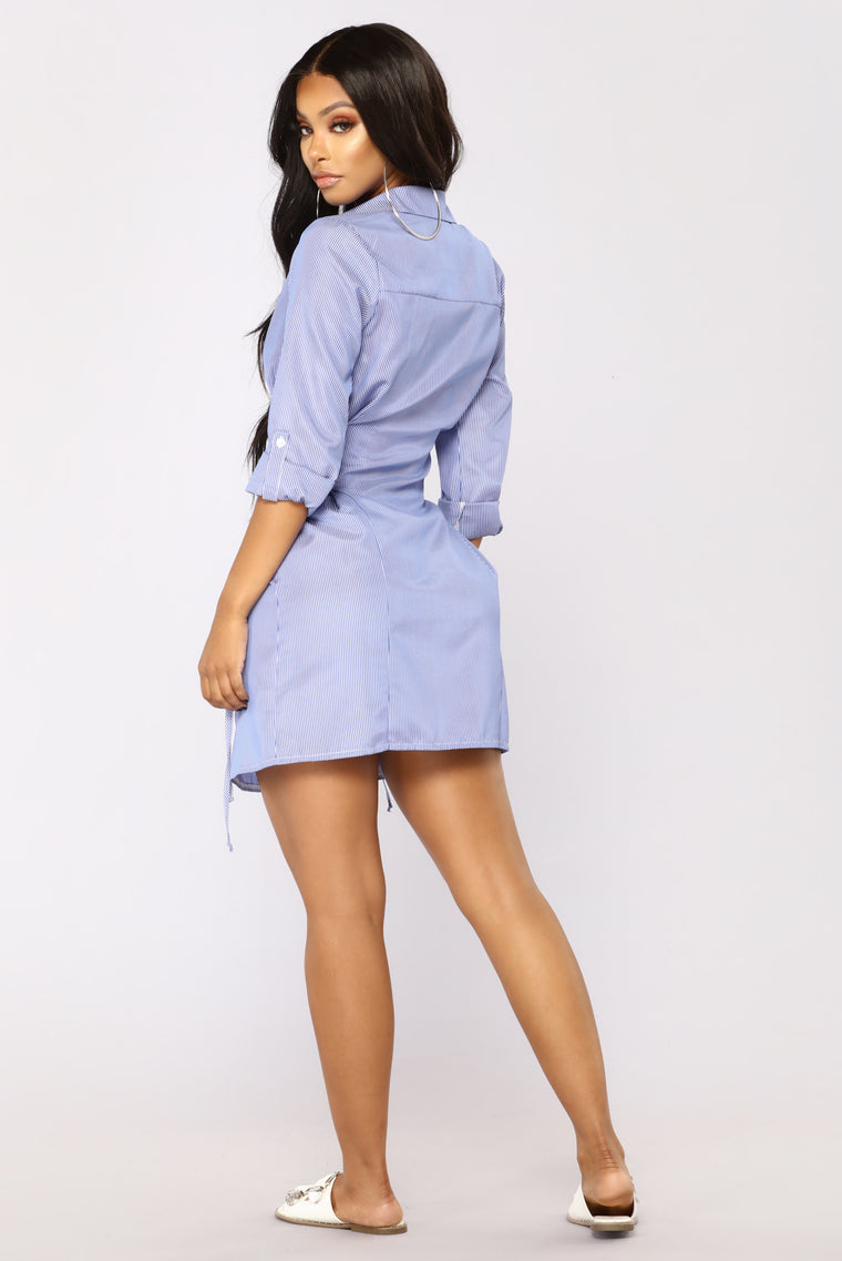 Get To Work Shirt Dress - Royal