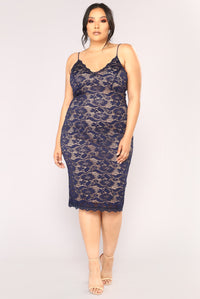 All About Me Midi Dress - Navy Angle 5