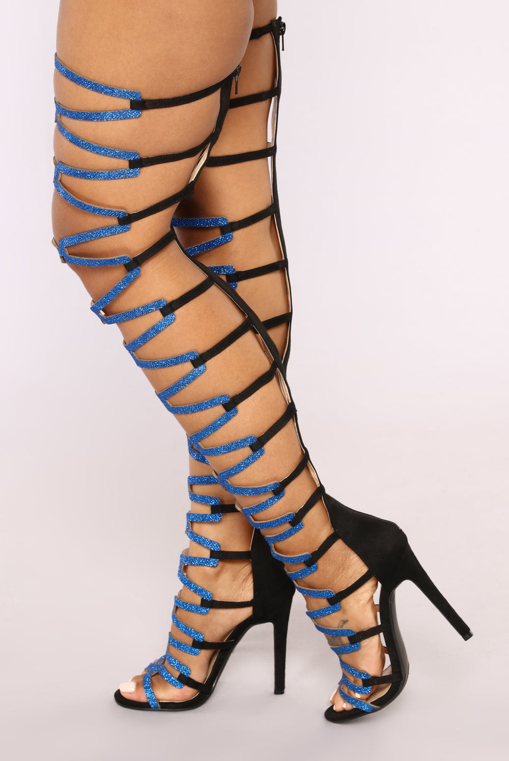 The Business Heeled Sandal - Black/Blue