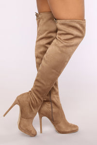 Edgy Chick Over The Knee Boot - Taupe