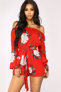 Nature Walk Floral Romper - Red