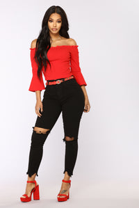 City Streets Long Sleeve Top - Red
