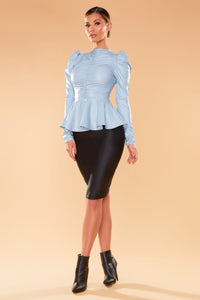 Don't Worry About It Peplum Top - Dusty Blue