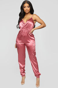 Pure Emotions Satin Jumpsuit - Rose