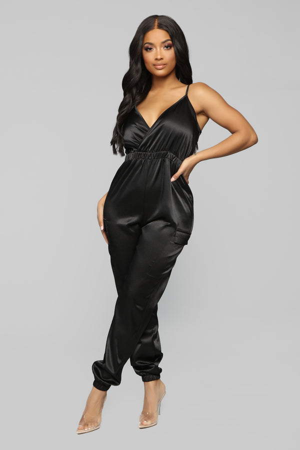 9ab86a20c9 Pure Emotions Satin Jumpsuit - Black