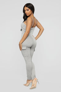 Monae Cargo Jumpsuit - Heather Grey