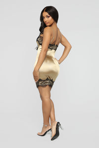 Night Time Fun Satin Mini Dress - Copper/Black