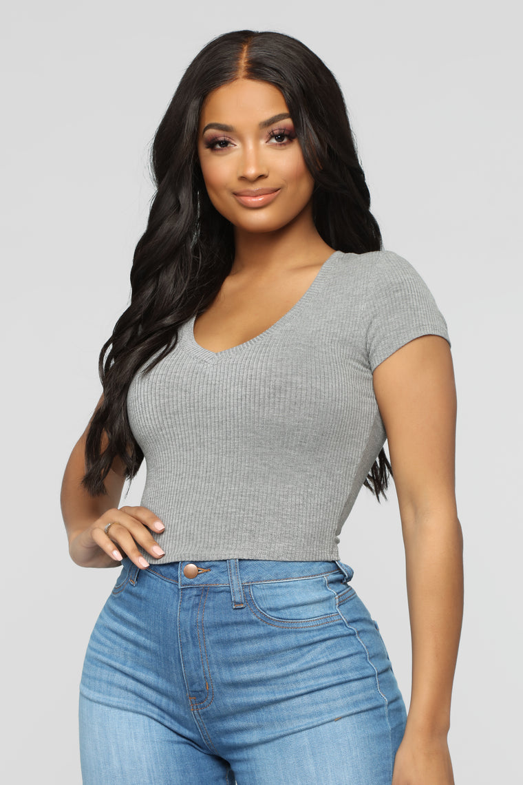 Little Do You Know Crop Top - Dark Heather Grey