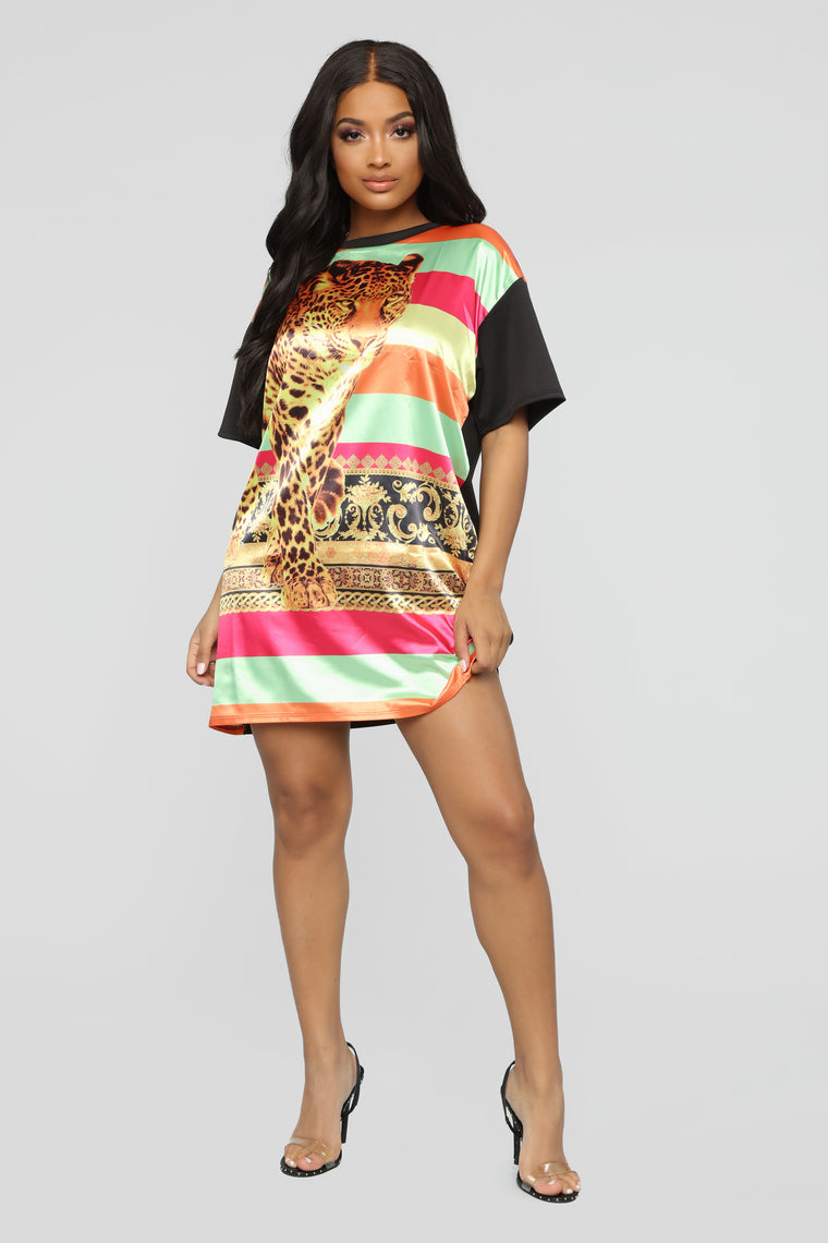 Waiting To Pounce T Shirt Dress - MultiColor
