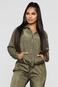 Come On Over Windbreaker Jacket - Olive