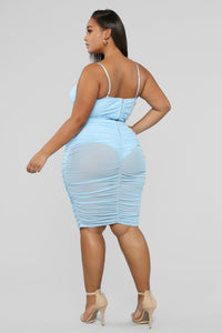 Pull Me In Ruched Midi Dress - Light Blue
