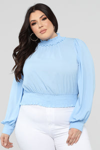 Can't Hold Me Back Blouse - Light Blue