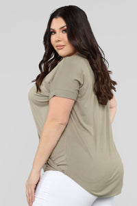 Dream On Short Sleeve Top - Olive Angle 8