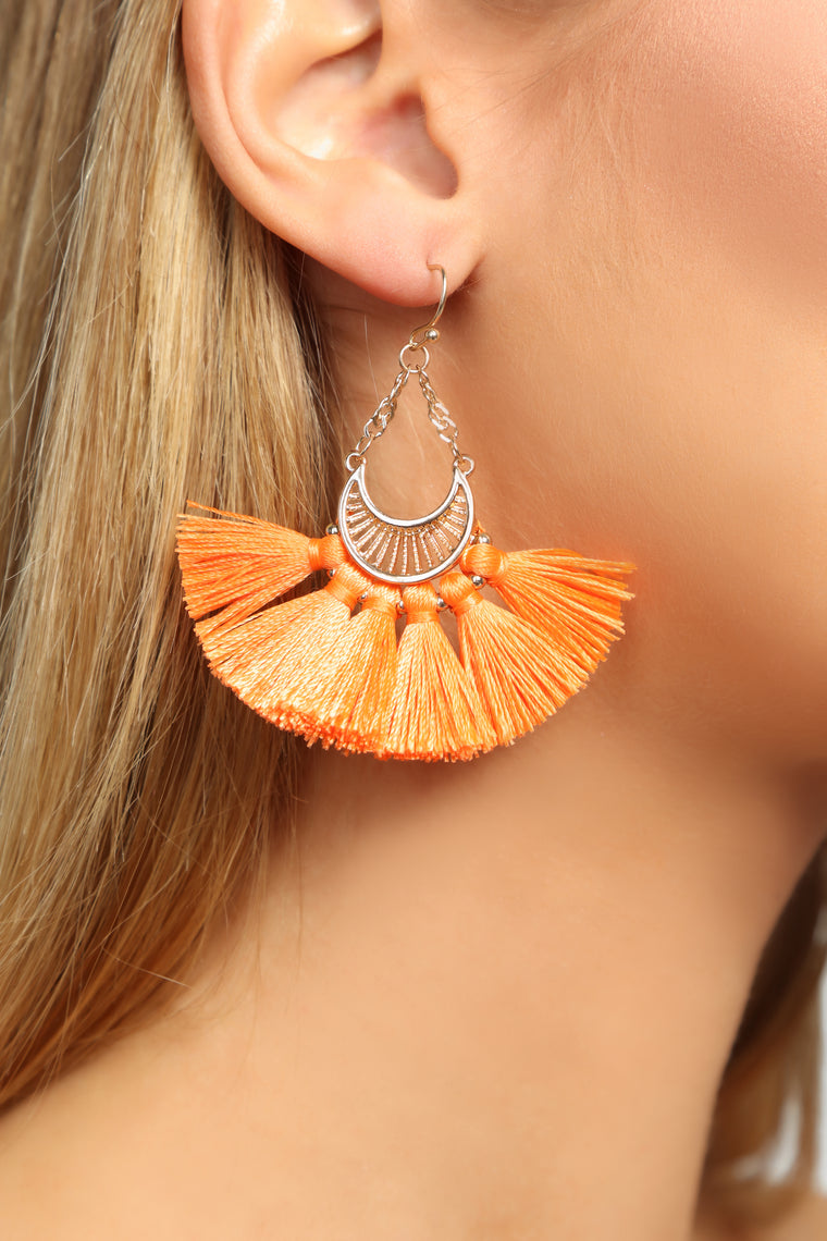 Girly Baby Tassel Earrings - Neon Orange