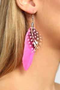 Just Wingin It Feather Earrings - Pink