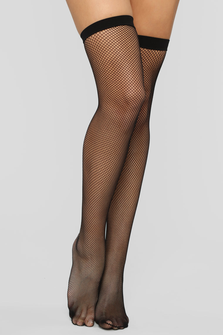 Let's Keep It Real Thigh High Stockings - Black