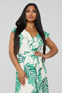 Going Somewhere Pretty Tropical Midi Dress - Ivory/Green