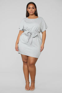 Emotional Ties Mini Dress - Heather Grey