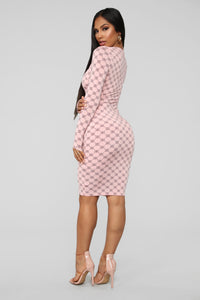 Always On The Trend Midi Dress - Pink/Combo