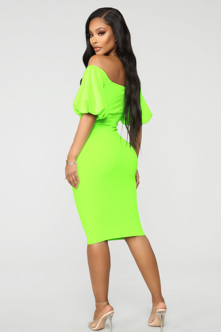 Pop Bubble Sleeve Dress - Neon Green