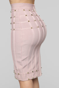I Attract Studs Bandage Skirt Set - Mauve