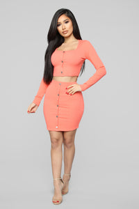 Don't Push My Buttons Skirt Set - Coral Angle 2