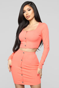 Don't Push My Buttons Skirt Set - Coral Angle 1