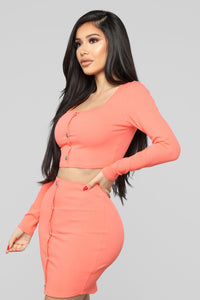 Don't Push My Buttons Skirt Set - Coral Angle 3