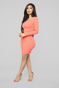 Don't Push My Buttons Skirt Set - Coral Angle 4