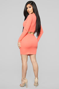 Don't Push My Buttons Skirt Set - Coral Angle 5