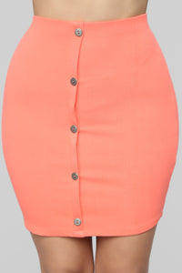 Don't Push My Buttons Skirt Set - Coral Angle 6