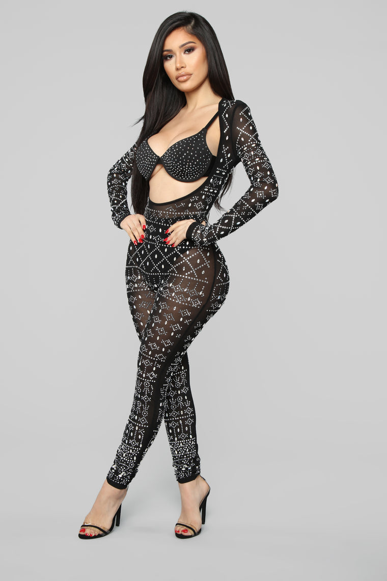 Earn My Wings Rhinestone Jumpsuit Set - Black