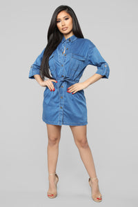 Bring The Sass Denim Mini Dress - Medium Blue Wash