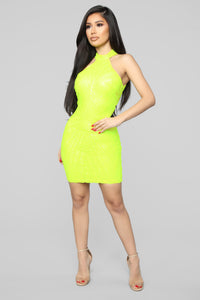 Diva Vibes Dress - Neon Yellow