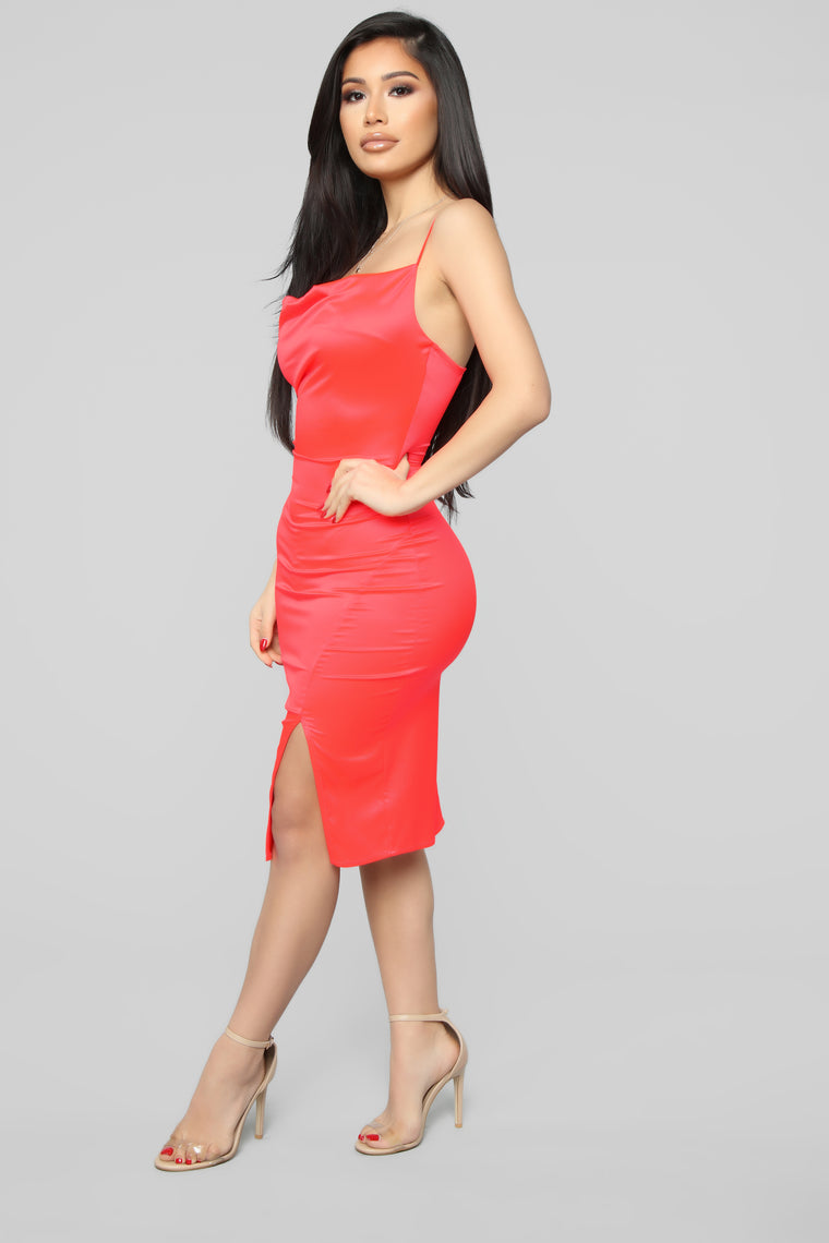 I Know You See Me Midi Dress - Neon Coral