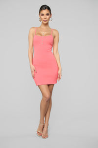 Run Away With Me Ribbed Mini Dress - Coral