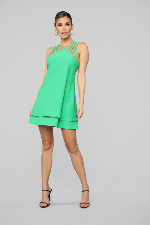 A Simple Matter Mini Dress - Green