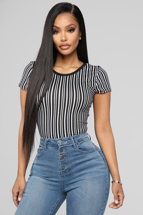Love And Attention Top - Black Stripe