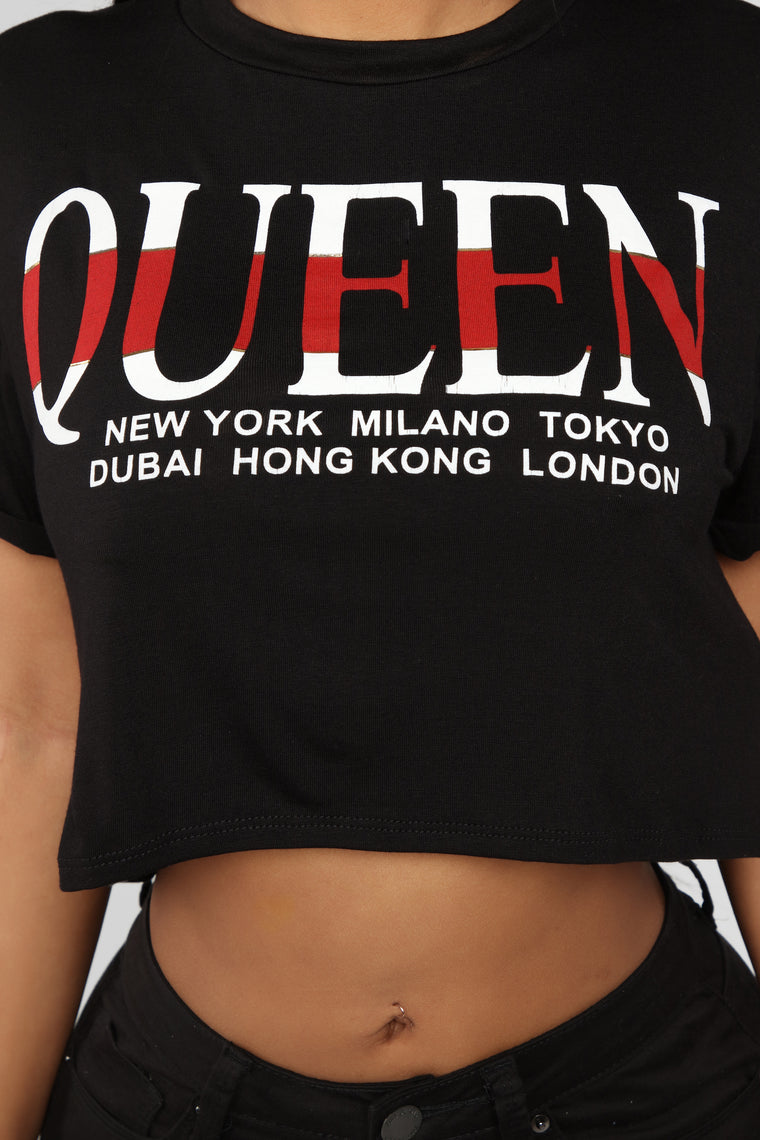 Nova Queen Crop Top - Black