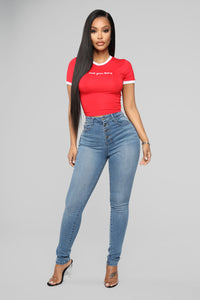 I Was Never Yours Ringer Top - Red