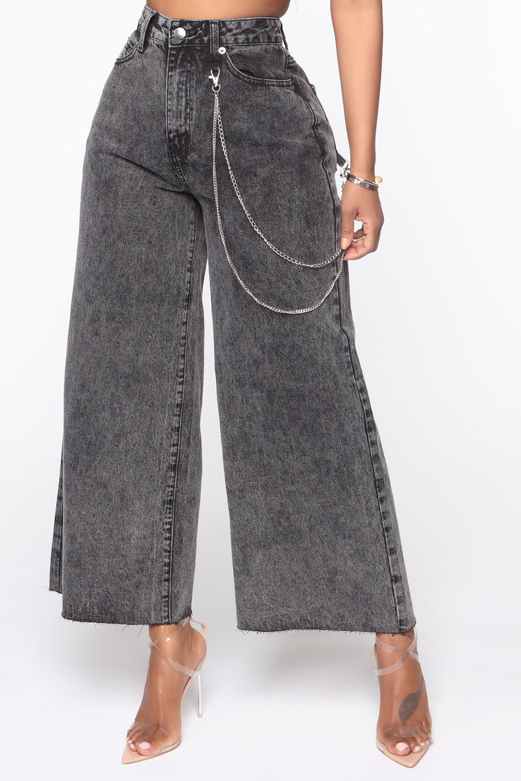 Chained To The Rhythm Cropped Wide Leg Jeans - Black