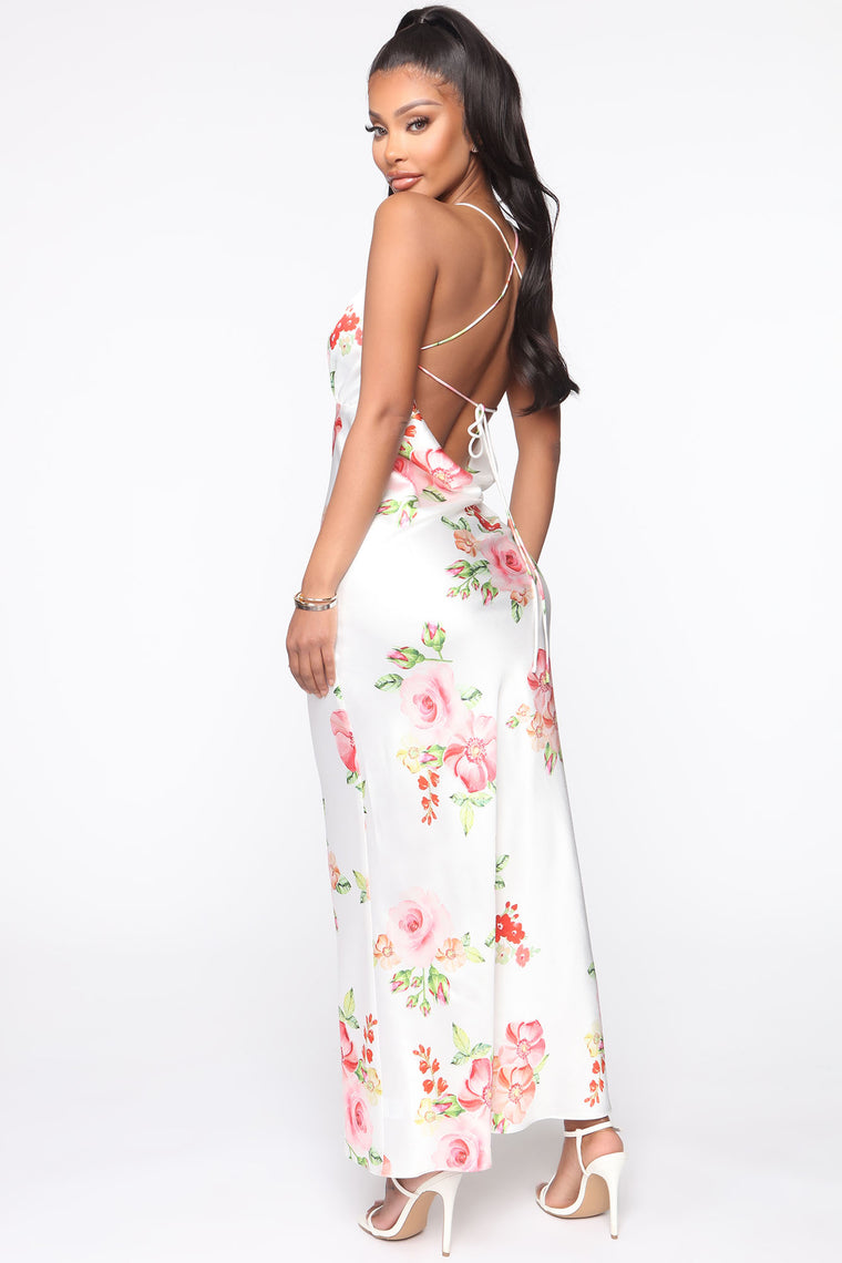 Gentle Love Floral Maxi Slip Dress - White/combo