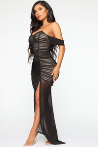 Feeling Ruched Mesh Maxi Dress - Black/combo Angle 3