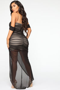 Feeling Ruched Mesh Maxi Dress - Black/combo Angle 4