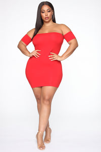 Simple Dreams Off Shoulder Mini Dress - Red Angle 4
