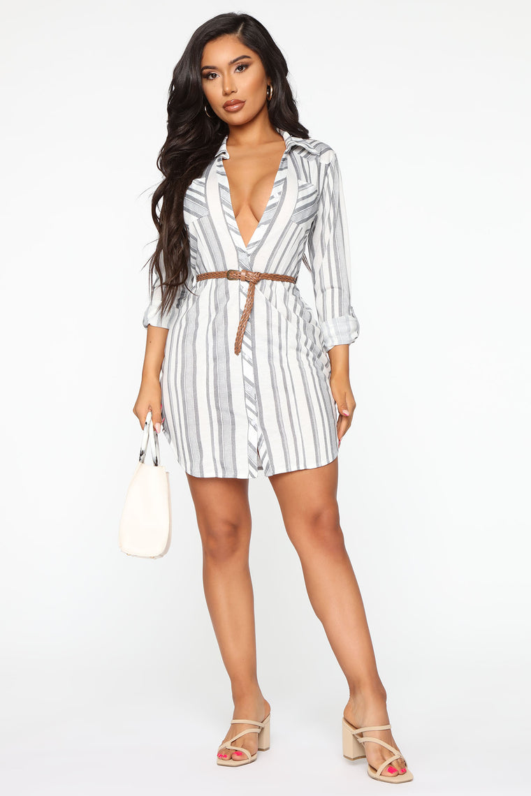 Taken Seriously Shirt Dress - Grey/combo
