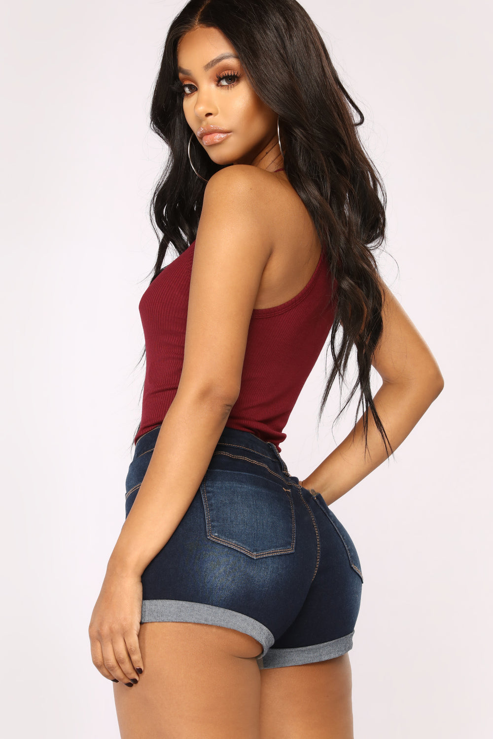 Demi Racer Back Crop Cami II Top - Burgundy